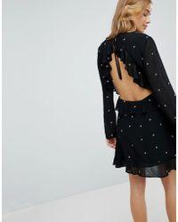 9009e1f1df9 Honey Punch - Long Sleeve Tea Dress With Ruffle Trim In Star Print - Lyst