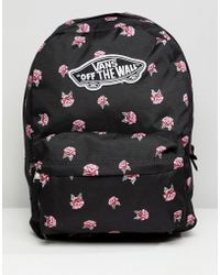 Vans - Black Floral Print Realm Backpack - Lyst