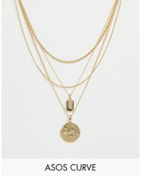 ASOS - Asos Design Curve Multirow Necklace With Worn Coin And Crystal Detail Tag Pendants In Gold - Lyst