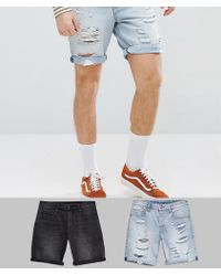 ASOS - Design 2 Pack Denim Shorts In Slim Washed Black & Light Wash With Heavy Rips 2 Pack Save - Lyst