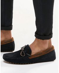 ASOS - Driving Shoes In Navy Suede With Brown Leather Detail - Lyst