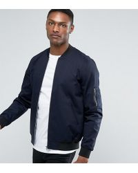 ASOS - Tall Bomber Jacket With Sleeve Zip In Navy - Lyst