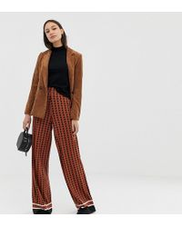 ASOS - Asos Design Tall Geo Wide Leg With Striped Hem - Lyst