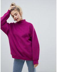 Bershka - High Neck Oversized Jumper In Purple - Lyst