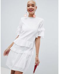 Pieces - Ruffle Layer Smock Dress - Lyst