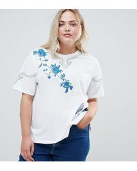 ASOS - Asos Design Curve T-shirt With Floral Embroidery - Lyst