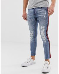 Brave Soul Skinny Jeans With Taping - Blue