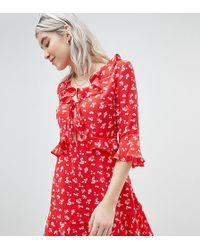 Boohoo - Ditsy Cut Out Skater Dress - Lyst