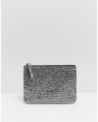 Monki - Glitter Envelope Bag In Silver - Lyst