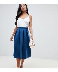 ASOS - Asos Design Petite Scuba Midi Prom Skirt - Lyst