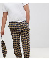 ASOS - Plus Woven Straight Pyjama Bottoms In Mustard & Navy Brushed Check - Lyst