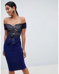 ec916a0fa017 Vesper - Bardot Midi Dress With Contrast Lace - Lyst