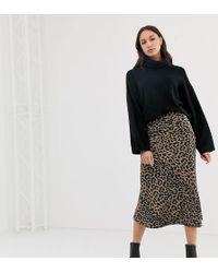 ASOS - Tall Bias Cut Satin Midi Skirt In Leopard Print - Lyst
