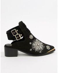 River Island - Embellished Open Back Boot In Black - Lyst
