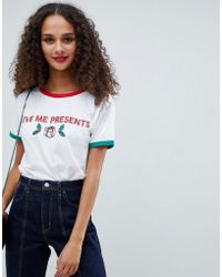 ASOS - Christmas T-shirt With Glitter Print And Contrast Binding - Lyst