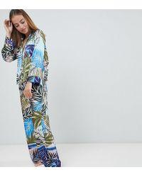 ASOS - Asos Design Petite Tropical Border Print Satin Pyjama Set - Lyst