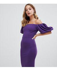 John Zack - Bardot Midi Dress With Exaggerated Sleeve In Purple - Lyst