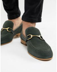 River Island - Suede Loafer In Green - Lyst