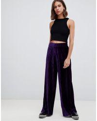 B.Young - Velvet Plisse Wide Leg Trousers - Lyst