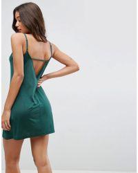ASOS - Mini Dress With V Back In Slinky - Lyst