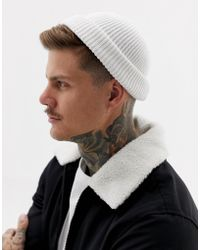 ASOS - Mini Fisherman Beanie In White Rib Recycled Polyester - Lyst