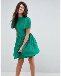 ASOS - Lace Puff Sleeve Mini Dress - Lyst