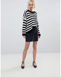 Stradivarius - Leather Look Mini Skirt - Lyst