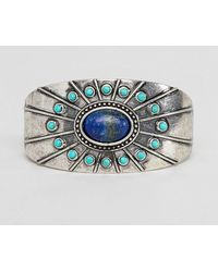ASOS - Statement Cuff Bangle In Burnished Silver With Stones - Lyst