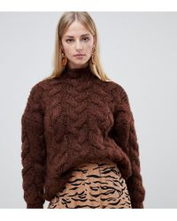 Mango - Oversized Cable Knit In Chocolate In Brown - Lyst