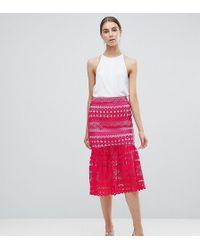 ASOS - Premium Occasion Lace Pep Hem Midi Skirt Co-ord - Lyst