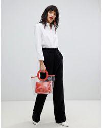 Pieces - High Paper Bag Waist Trouser - Lyst