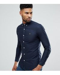 Farah - Tall Skinny Fit Button Down Oxford Shirt In Navy - Lyst