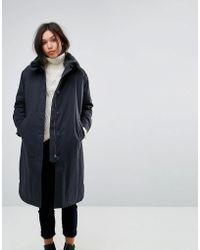 Parka London | Cleo Boyfriend Duster Coat With Faux Fur Collar | Lyst