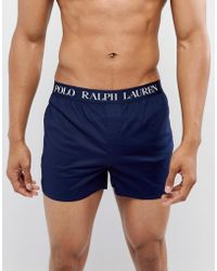 Polo Ralph Lauren - Slim Fit Woven Boxers Logo Waistband In Navy - Lyst