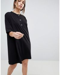 ASOS - Super Oversized T-shirt Dress With Popper Placket - Lyst
