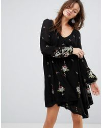 Free People - Oxford Embroidered Mini Dress - Lyst