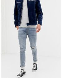 D-Struct Skinny Fit Ripped Knee Denim Jeans In Light Blue