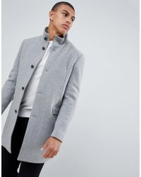 SELECTED - Recycled Wool Overcoat With Funnel Neck - Lyst