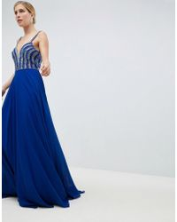 Jovani - Deep Plunge Embellished Maxi Dress - Lyst