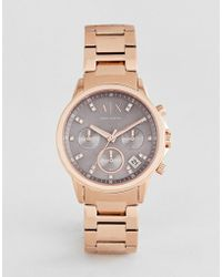 Armani Exchange - Ax4354 Chronograph Bracelet Watch In Rose Gold 35mm - Lyst