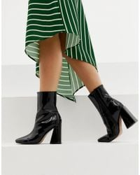 e82a37f44f4e Missguided - Square Toe New Flare Heeled Ankle Boot In Black - Lyst
