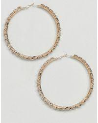 True Decadence - Gold Embellished Hoop Earrings - Lyst