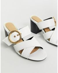 Dune - Head Over Heels Joliee White Slip On Heeled Mules With Gold Buckle Ring Detail - Lyst