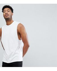 d4a0374976c41 ASOS - Tall Relaxed Sleeveless T-shirt With Dropped Armhole In White - Lyst