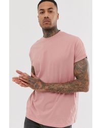 ASOS - Oversized Longline T-shirt With Roll Sleeve In Pink - Lyst