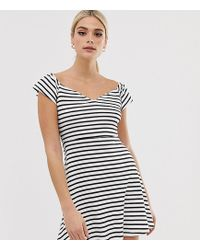2f0aaaeb303 ASOS - Asos Design Tall Bardot Skater Sundress In Stripe - Lyst