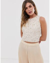 LACE & BEADS - Embellished Sleeveless Crop Top Co-ord In Pink - Lyst
