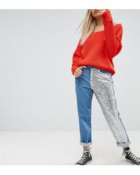 Noisy May Petite - Mom Jean With Sequin Panel Detail - Lyst