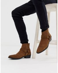 ASOS - Cuban Heel Western Chelsea Boots In Tan Suede With Buckle Detail - Lyst
