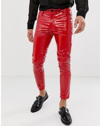 ASOS - Cropped Skinny Coated Leather Look Jeans In Red - Lyst